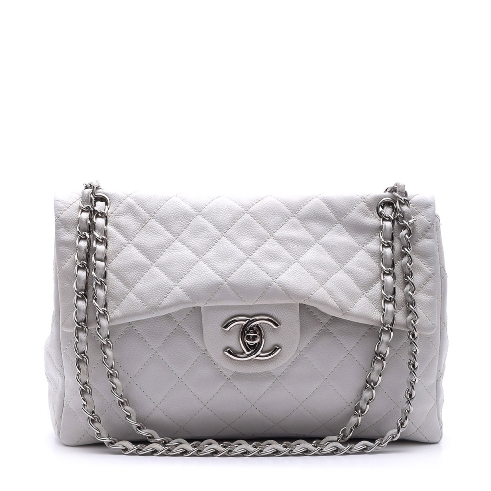CHANEL - WHITE QUILTED CALFSKIN SINGLE MAXI FLAP BAG